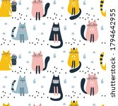 seamless pattern with cute cat. ...   Shutterstock .eps vector #1794642955
