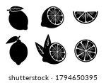 set of lemon silhouettes. black ... | Shutterstock .eps vector #1794650395