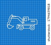 blue banner with excavator icon.... | Shutterstock .eps vector #1794659818