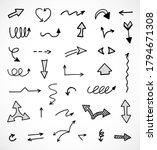 vector set of hand drawn arrows | Shutterstock .eps vector #1794671308