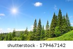 high mountains and sun on blue... | Shutterstock . vector #179467142