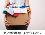 Woman Holding A Donate Box....