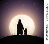 mom bear and baby holding hands ... | Shutterstock .eps vector #1794712378