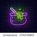 witches bowler neon sign. sign... | Shutterstock .eps vector #1794735892