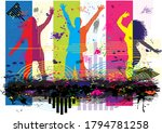 dancing people silhouettes.... | Shutterstock . vector #1794781258