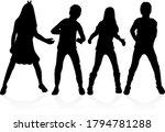 black silhouette of children on ...   Shutterstock . vector #1794781288