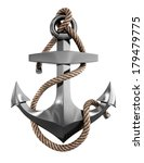 metal anchor with rope isolated ... | Shutterstock . vector #179479775