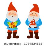 cute garden gnomes in red cups. ... | Shutterstock .eps vector #1794834898