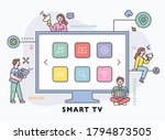 huge smart tv and people around.... | Shutterstock .eps vector #1794873505