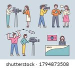 people who report news. flat... | Shutterstock .eps vector #1794873508