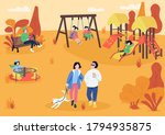 autumn playpark with visitors... | Shutterstock .eps vector #1794935875