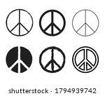 Set Of Round Peace Sign....