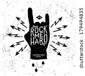 "vintage label ""rock me hard""  t ... 