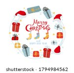 christmas wreath of gifts ... | Shutterstock .eps vector #1794984562