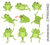 cute frogs. green funny frogs... | Shutterstock .eps vector #1795015402