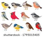Cute Birds. Hand Drawn Little...