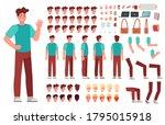 cartoon male character kit. man ... | Shutterstock .eps vector #1795015918