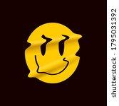yellow distorted smile emoji... | Shutterstock .eps vector #1795031392