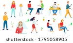 lots of people at office work....   Shutterstock .eps vector #1795058905