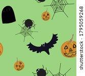 jack o lanterns  flying bats ...   Shutterstock . vector #1795059268