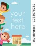 school kids children having fun ... | Shutterstock .eps vector #1795075252