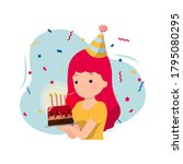 female blowing a candle on... | Shutterstock .eps vector #1795080295