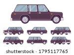 station wagon  estate car black ... | Shutterstock .eps vector #1795117765