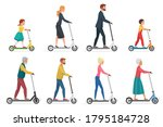 people on electric scooter set... | Shutterstock .eps vector #1795184728