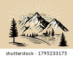 tent camping in forest near... | Shutterstock .eps vector #1795233175