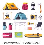 camping set with cartoon tent...   Shutterstock .eps vector #1795236268