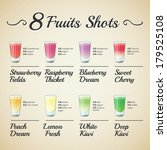 fresh fruit shots set   bitmap | Shutterstock . vector #179525108