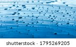 Blue Car Body Covered in Water Drops Close Up Panoramic Photo Background - stock photo