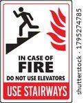 in case of fire do not use... | Shutterstock .eps vector #1795274785