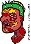 Red Tattooed Face With Green...