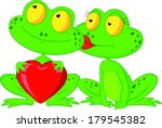 cute frog couple holding red... | Shutterstock . vector #179545382