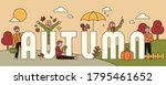 autumn landscape banner and big'... | Shutterstock .eps vector #1795461652
