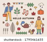 items that symbolize autumn and ... | Shutterstock .eps vector #1795461655
