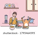 a woman and a cat are about to... | Shutterstock .eps vector #1795464595