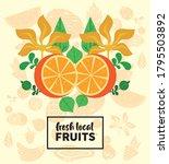fresh local fruits lettering...   Shutterstock .eps vector #1795503892