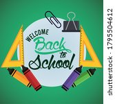 back to school poster with...   Shutterstock .eps vector #1795504612