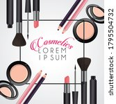 lettering and make up cosmetics ...   Shutterstock .eps vector #1795504732