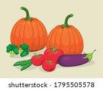 local fresh vegetables in... | Shutterstock .eps vector #1795505578