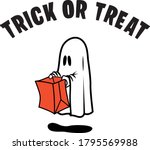 halloween ghost holding a paper ... | Shutterstock .eps vector #1795569988
