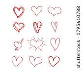 vector hand drawn heart  red... | Shutterstock .eps vector #1795610788