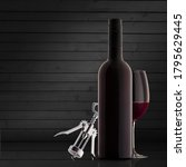 A Bottle Of Red Wine On A...