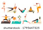 young people in yoga poses set...   Shutterstock . vector #1795647325