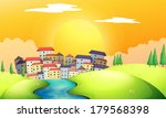 illustration of a flowing river ... | Shutterstock . vector #179568398