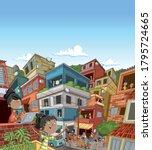 street of poor neighborhood...   Shutterstock .eps vector #1795724665