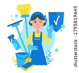 Cleaning Service Concept  Girl...
