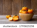 Persimmons Or Persimon Fruits...